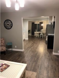living room renovation, mohawk flooring
